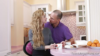 Curly teen gets drilled in the kitchen by her BF